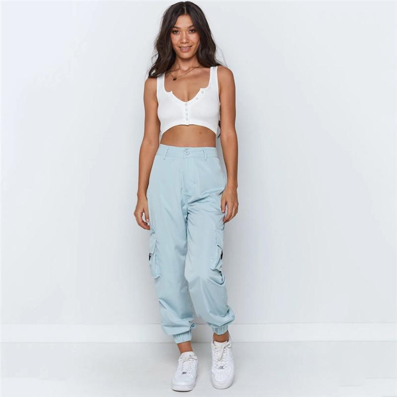 Designer Casual Sweatpants Streetwear Verão solto Cor Azul tornozelo Banded Pants Mulheres multi bolso Calças Mulheres Moda