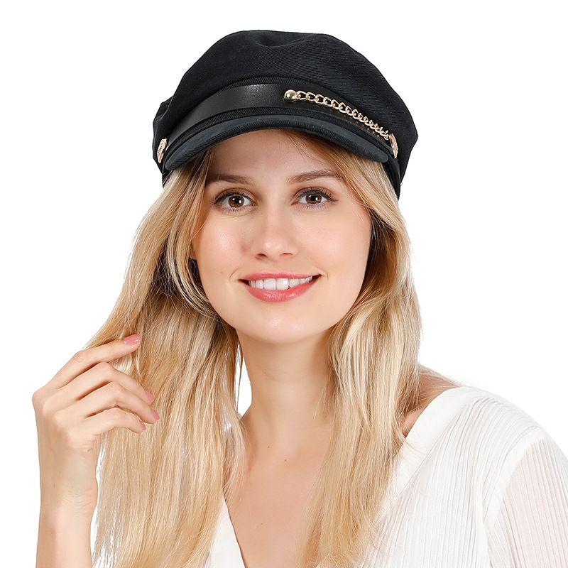 Hat Womens Primavera Belt Cadeia Casual All-jogo Plano Hat Coreano de estilo de rua pequeno Fragrance Retro Hat Navy Adicionar Box L