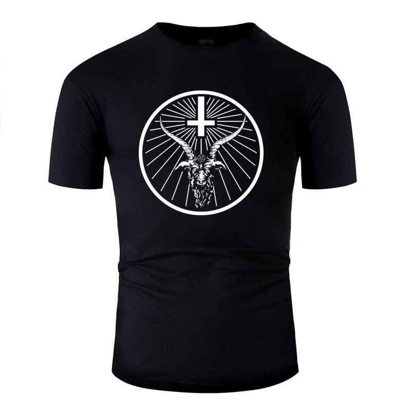 En Yeni Tasarım Tişört İçin Erkekler Pamuk Spor Erkek Baphomet Kafa Tişörtler Yuvarlak Yaka Temel Katı 2020 Pop Top Tee