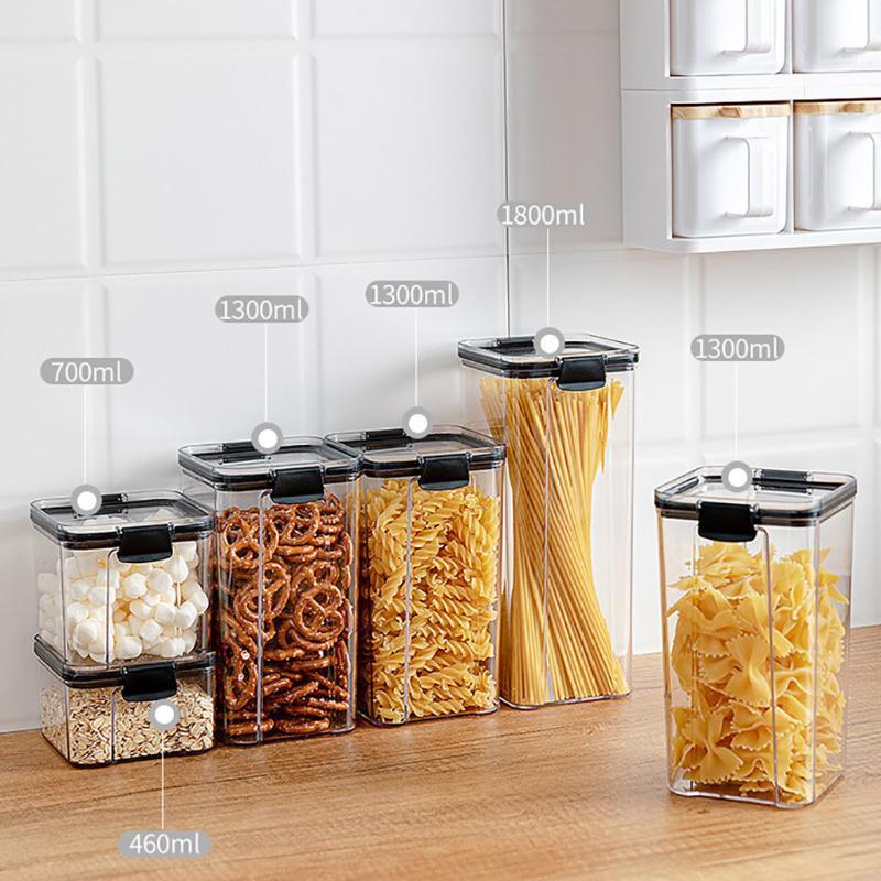 4PZA plástico transparente frasco sellado de cereales cocina especia de almacenamiento Caja de almacenamiento Jar fresco de la caja julio # 09