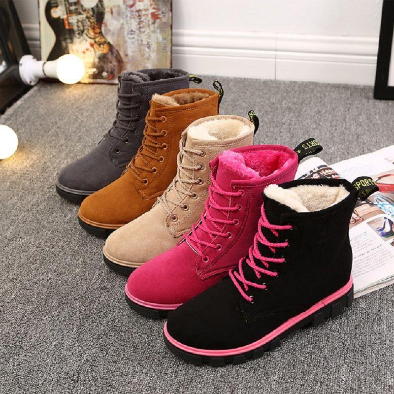 الموضة الجديدة أحذية الثلوج النساء أحذية مسطحة القاع النسخة الكورية أحذية السيدات القطن الشتاء النساء أحذية للتدفئة