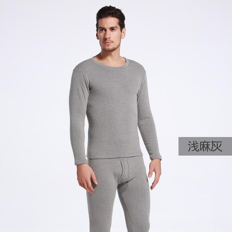 p1gxa invierno nuevo traje de ropa interior térmica, además de terciopelo espesado de los hombres de cuello redondo de color sólido delgado calientes ropa interior y ropa de otoño ropa au