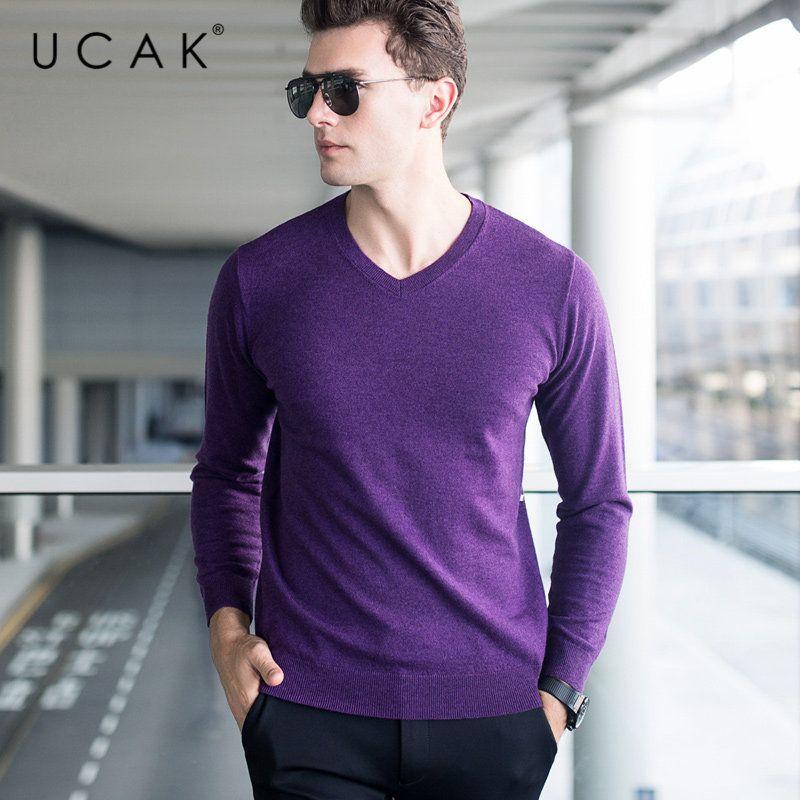 Ucak Marke Pullover Männer klassische zufälliger V-Ausschnitt Pull Homme reine Merinowolle Pullover Männer Herbst-Winter-weiche Kaschmir-Pullover U3005 CX200730