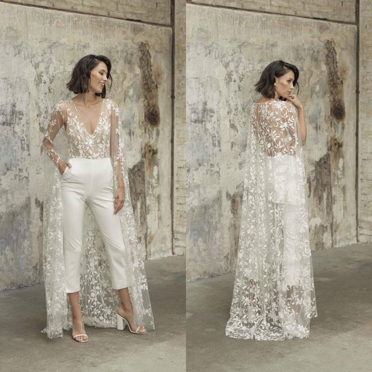 Lace Stain Wedding Jumpsuit with Long Cape Jacket 2021 Sexy V-neck Beach Garden Bridal Outfit Wedding Dress with Pant Suit
