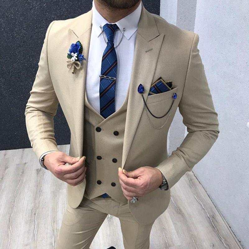 Schmaler Schnitt Creme Men Suits 3 Stück für Hochzeit 2020 Mann Mode Kleidung spitzen Revers Bräutigam Smoking Male Set Jacke mit Hosen-Weste