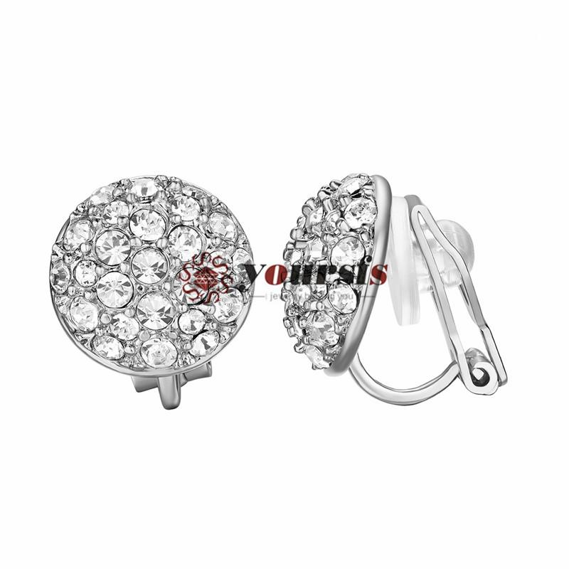 Yoursfs Elegant Bling Crystal Ear Clip on Earrings for Women 18 k Gold Plated Shinning Cubic Zirconia Clip on Earrings Jewelry Accessories
