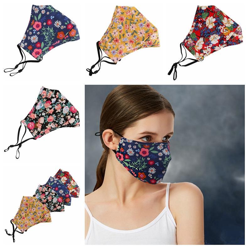 Çiçek Baskı Maske Nefes Katlanabilir Ağız Maskeleri PM2.5 Yeniden Yıkanabilir Güneş Maskeleri toz geçirmez Yüz Maskesi Tasarımcı Maskesi RRA3397