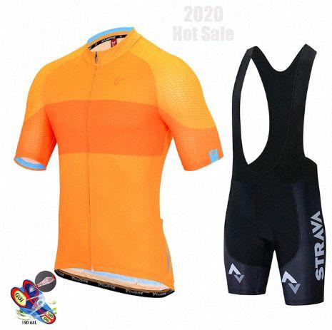 2020 2020 Мужчины Черный Strava Pro Team Summer Mountain Bike Гонки Одежда / дышащий Quick Dry Велоспорт Джерси наборы EMBn #