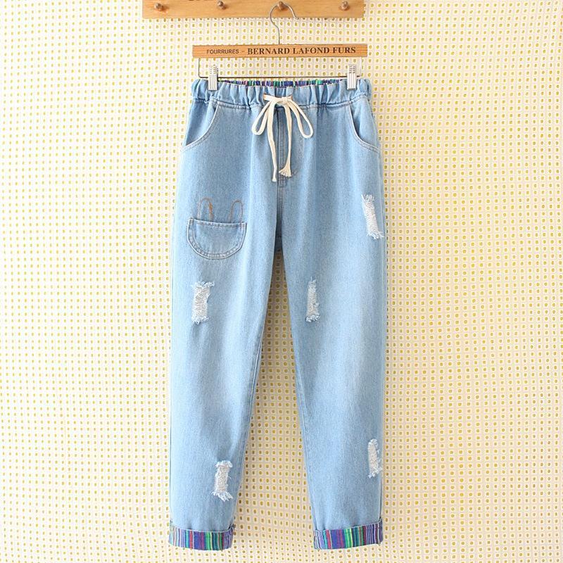 женщины размера Больших жира сестра свободно мода отверстие корейски цвет полоса отбортовки студент 9 брюк 6680134 джинсов и джинсы