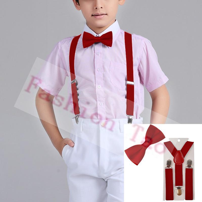2 PCS colore rosso dei bambini dei bambini Bowtie farfalla Bretelle Imposta Ragazzi bretelle Wedding Party Bambini Bow tie Wtr0003a02