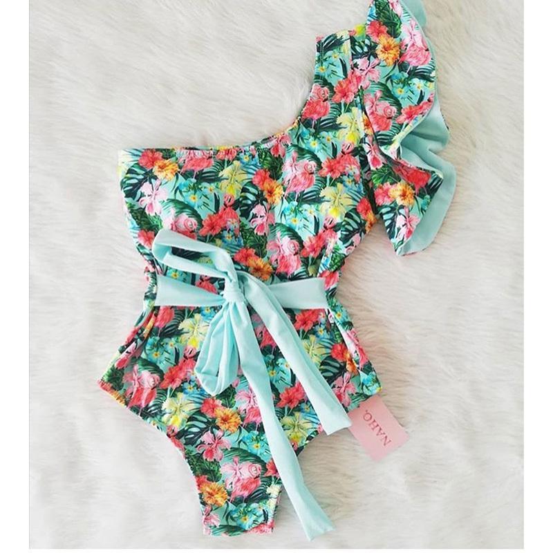 Bir Omuz Tek Parça Mayo 2020 Seksi Baskı Mayo Bayan Mayo fırfır Mayo Beachwear tek parça bikini yüzün T200708