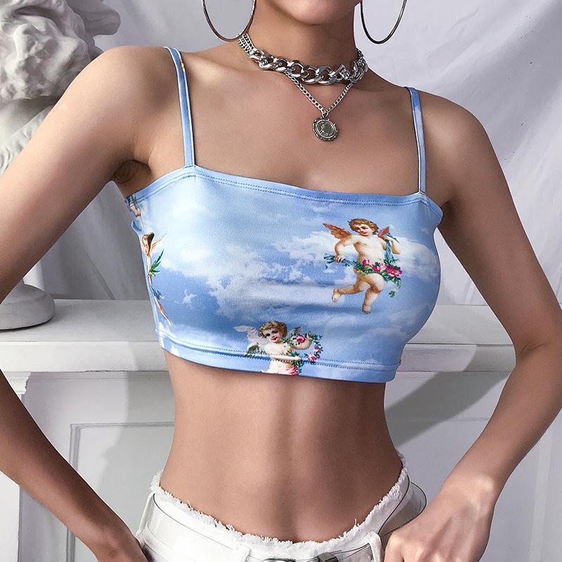 2019 Новая мода женщины лифчик Sling Top Жилет рукавов холодного плеча Ангел Купидон печати Короткие CAMIS Женский летний топ