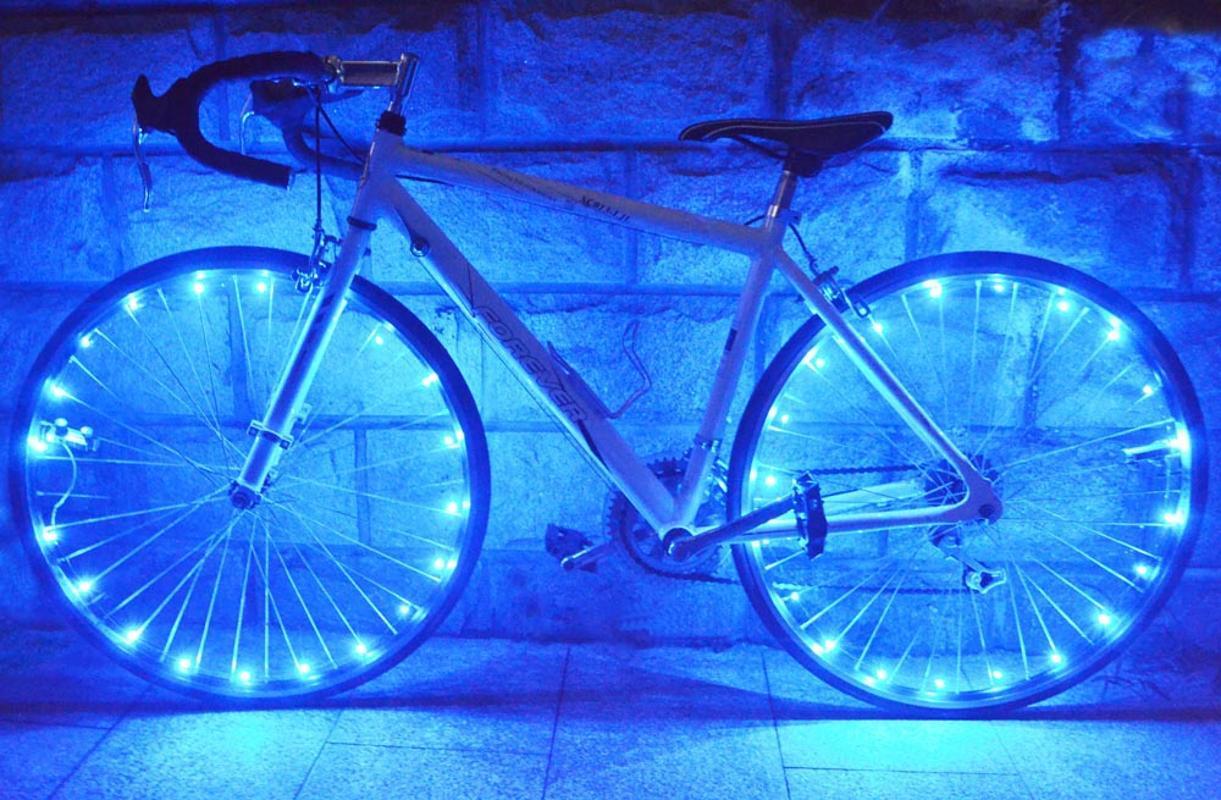 Roda LED 20 LEDs resistente à água da bicicleta ciclismo Rim Luzes Raio 2.2m Luz de corda de arame lâmpada