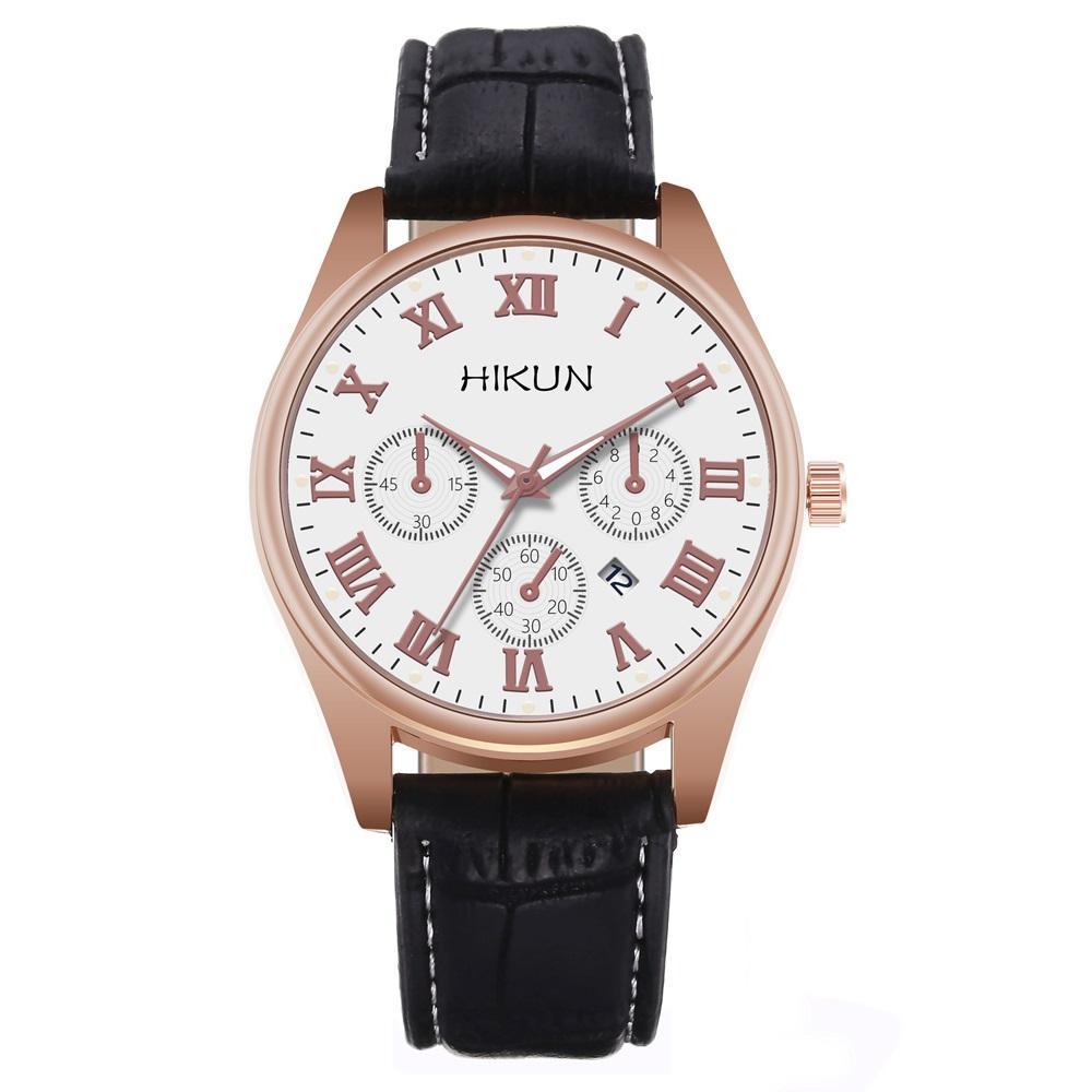 3 Dial Business Sport Quarz Mode Augen Dekoration Datum Kalender Leder Uhren Männer Männliche römische Mens Armbanduhren Armbanduhr UCGN