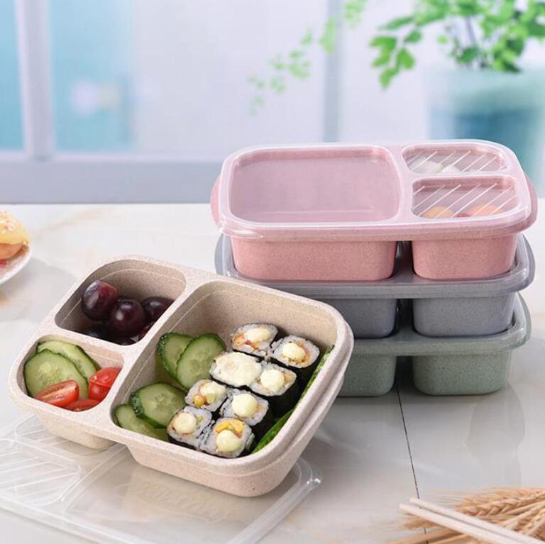 Lunch Box 3 Griglia Microonde contenitore di alimento Environmentally paglia di grano pranzo Bento Container Studente di immagazzinaggio mensa scolastica Piatto Spuntino DHD274