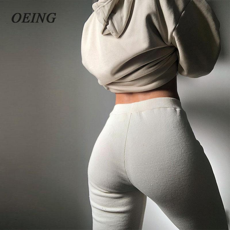 OEING 2020 new solid color sexy tight casual wild split line stitching ribbed slim pants women