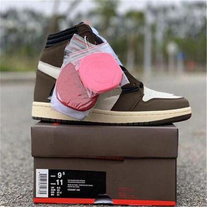 Горячая Продажа Браун Travis 1 Высокие низкий OG TS SP Мокко Мужчины Женщины Cactus Jack Dark Скоттс Баскетбол обувь Спорт Sneaker