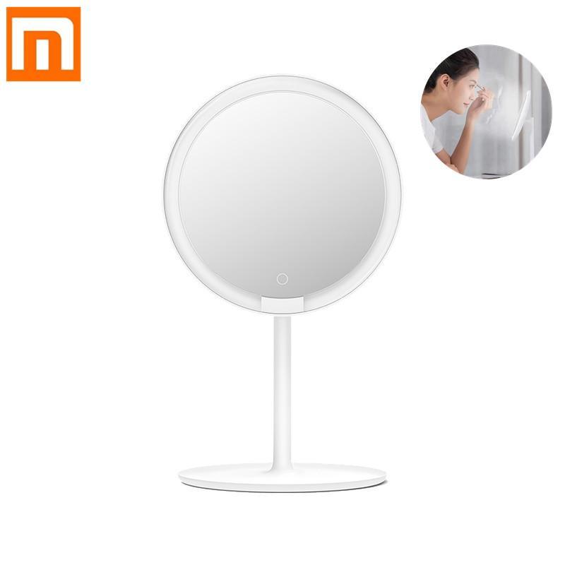 Xiaomi Mijia Maquillage Portable LED Miroir Luminosité réglable Lampe LED HD sans fil breveté Entourer Ra92 Outil de maquillage de beauté