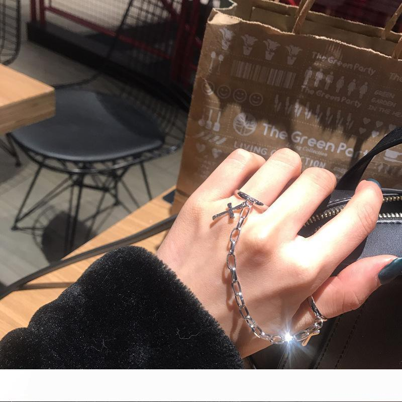 Vintage Hip Hop Punk Plated Silver Metal Cross Ring Chain Adjustable Joint Ring Finger Rings for Women men Party Jewelry Gifts