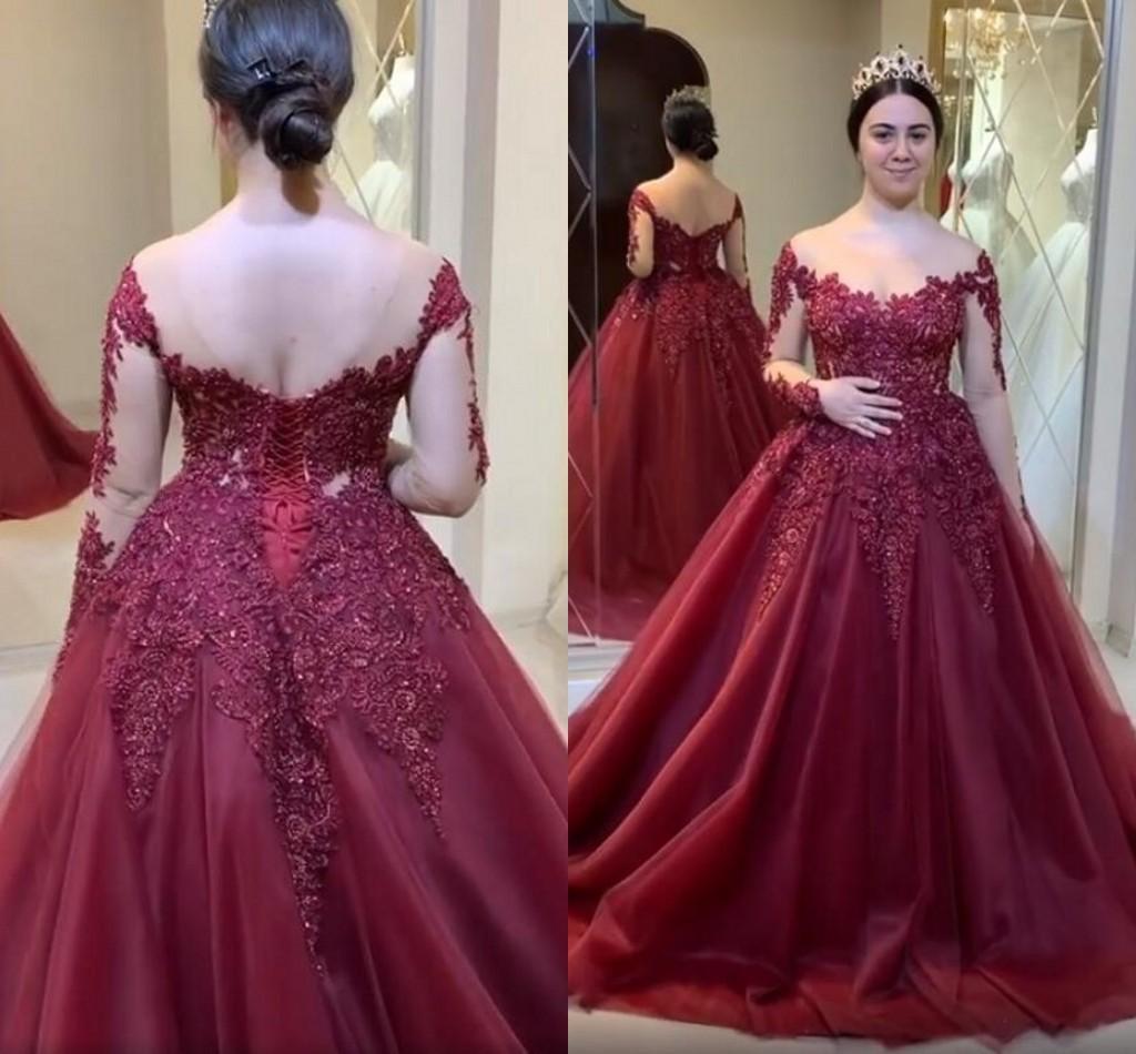Borgoña 2020 Árabe Aso Ebi Appliqued cordón vestidos de quinceañera Sheer cuello vestidos de baile de manga larga formal del partido de segunda Vestidos Recepción
