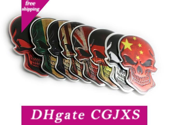 High Quality New 10 Pcs Chrome Motorcycle Car Tank Emblem Badge Decal Metal Sticker 3d Skull Bone Devil Car Styling
