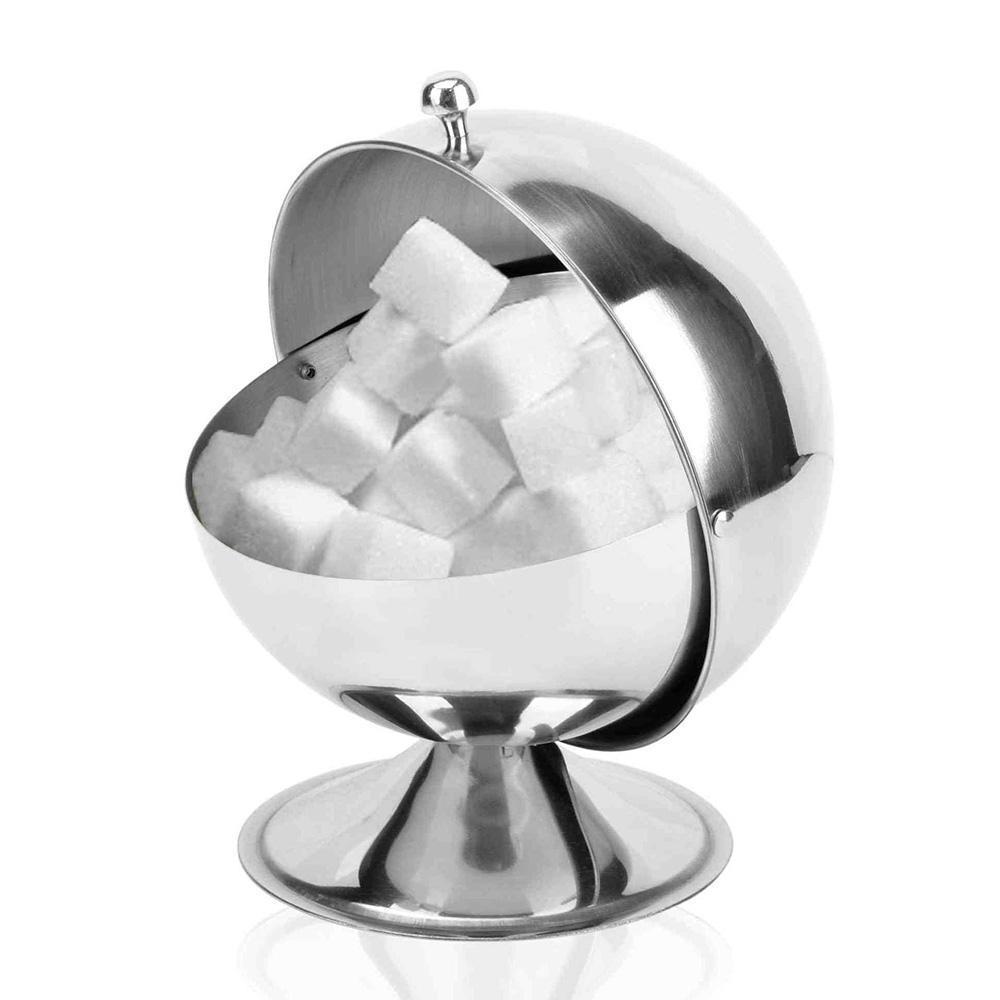 Sucre sphérique cuisine en acier inoxydable Bol Assaisonnement Bouteille Spice réservoir peut se retourner Bonbonnière Cuisine Rangement Bucket