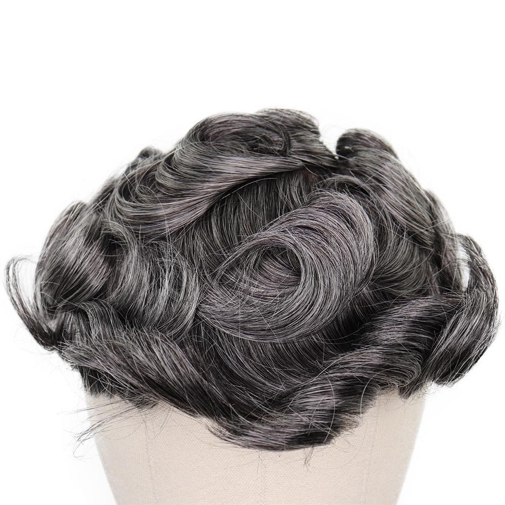 2020 Perruques durables pour homme brun gris mélangé Remy cheveux humains peau PU mince PU hommes naturels postiche postiches remplacement du système