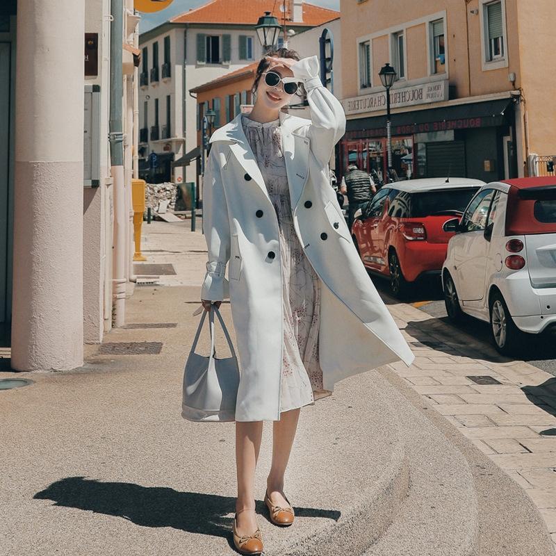 Frühling Windjacke Frauen Windjacke Mantel Mittellange modisches Temperament westlicher Stil offene Linie loser Mantel über das Knie