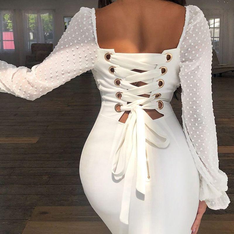 Новое прибытие кружева обшитые тонкое платье назад менее длинным рукавом платье белого партии сексуальная девушка