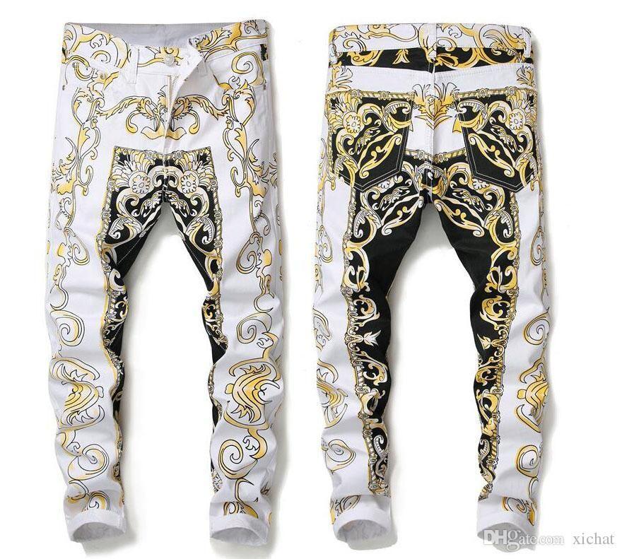 Único Mens Skinny 3D Impresso Jeans Fashion Designer Slim Fit motociclista Hip Hop Denim Pants Streetwear Calças 584