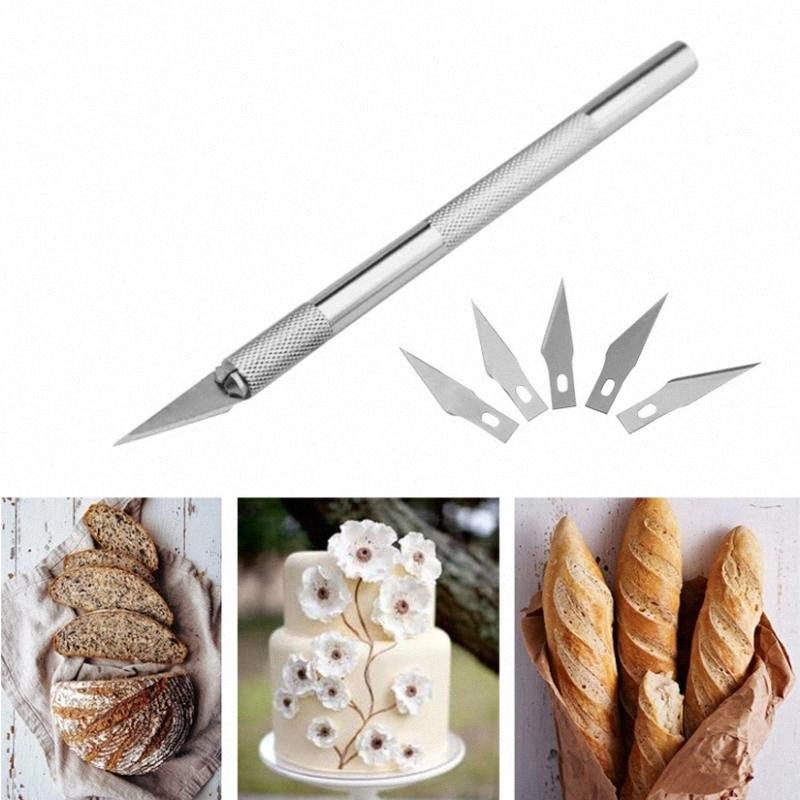 Esculpir pasta de goma Talla hornear los pasteles Herramientas 6pcs hojas de cuchillo de fruta pasta de azúcar que adorna las herramientas # d5qZ
