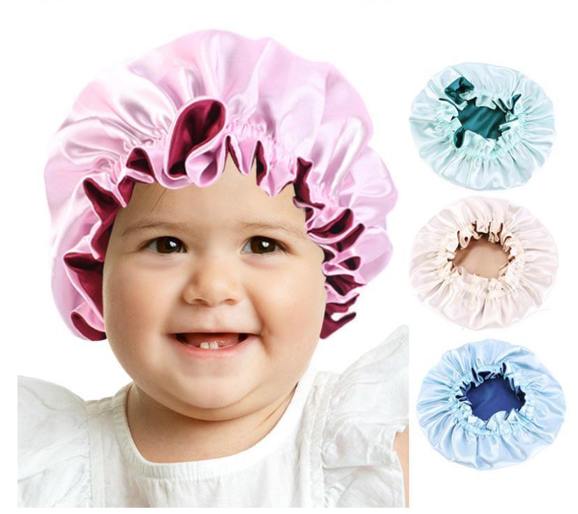 Çocuklar Saten Bonnet Gece Uyku Caps Moda Kızlar Ayarlanabilir Çift Katmanlı Uyku Şapka Duş Caps Çocuklar Kızlar için Yürüyor Çocuk Bebek