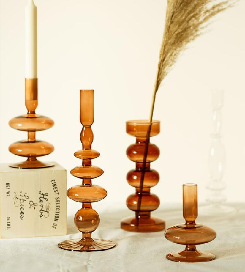 زجاج شمعة حامل اللقب على غرار الرجعية الفن الإضافية الزجاج البني الشمعدان سطح منزل إناء زينة الحلي وحاملي الشموع