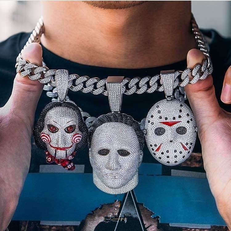 High quality zircon large version electric saw horror mask doll Pendant Necklace movable hip hop rap DJ men's Necklace