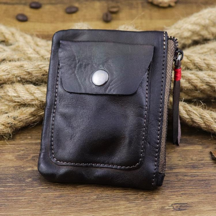 Creative zipper wallet pocket autumn and winter wallet simple zipper hand-painted tanned leather coin purse Korean style