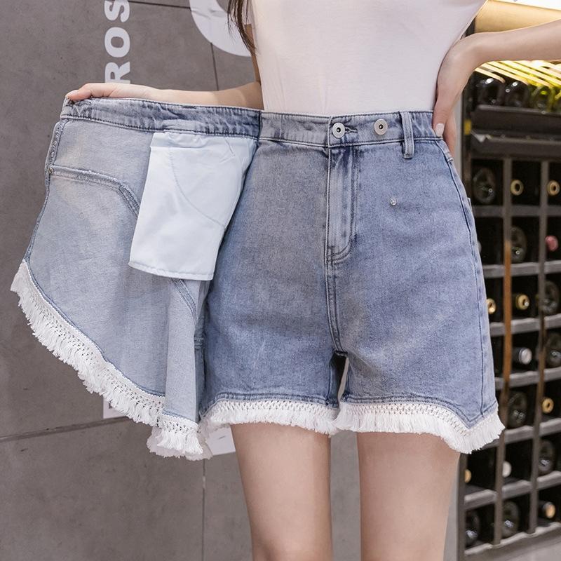 Wk6F3 Tassel lã costura denim calças curtas e calções calções de lã estudante coreano estilo versátil calças falso de duas peças saia diagonal a-