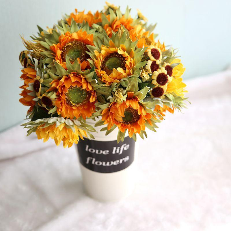 Herbst-Dekoration 5 Köpfe gelbe Sonnenblume-Silk künstliche Blumen Bouquet für Hauptdekoration Büro-Party-Garten Decor