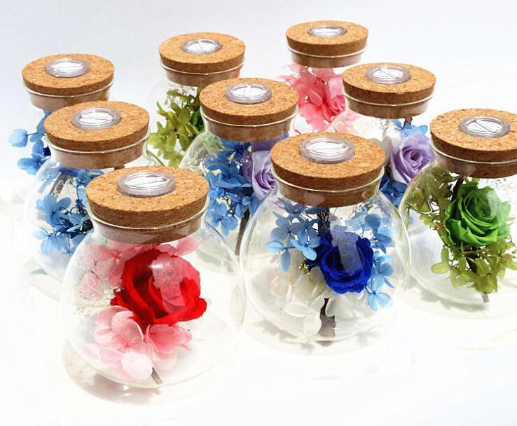 말린 영원한 로즈 LED 나이트 라이트 로맨틱 끝없는 보존 장미 꽃에 유리 발렌타인 데이 생일 선물 웨딩 파티 장식