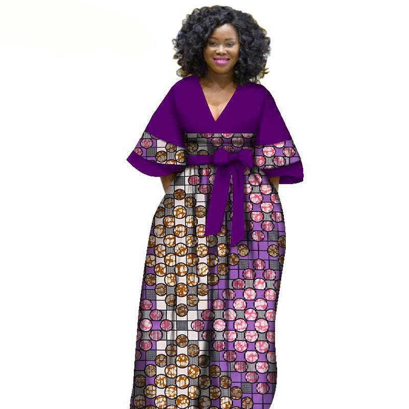 Etnik Giyim 2021 Afrika Elbiseler Kadınlar Için Pamuk Geleneksel Balmumu Baskı Orta Kollu Uzun Elbise Dashiki Maxi SL3582