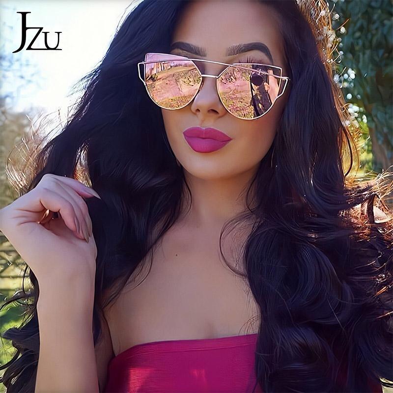 JZU Sunglasses Women Luxury Cat eye Brand Design Mirror Flat Rose Gold Vintage oversized big Fashion sun glasses lady Eyewear