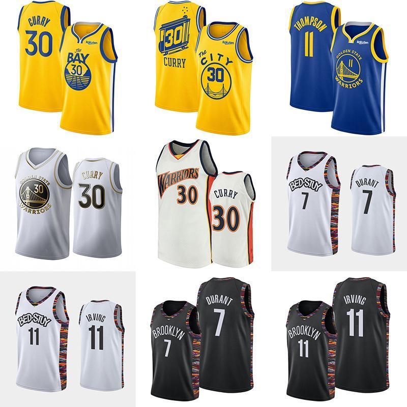 nueva Hombres 30 Curry Klay Thompson 11 Jersey Kevin Durant 7 11 Irving Colegio hombres jerseys