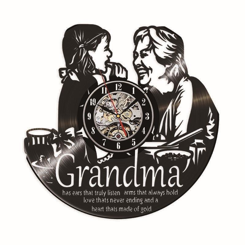 Petit-fils personnalité horloge quartz noir horloge murale de vinyle simple, décoration moderne artisanat décoration créative salon cadeau fait à la main