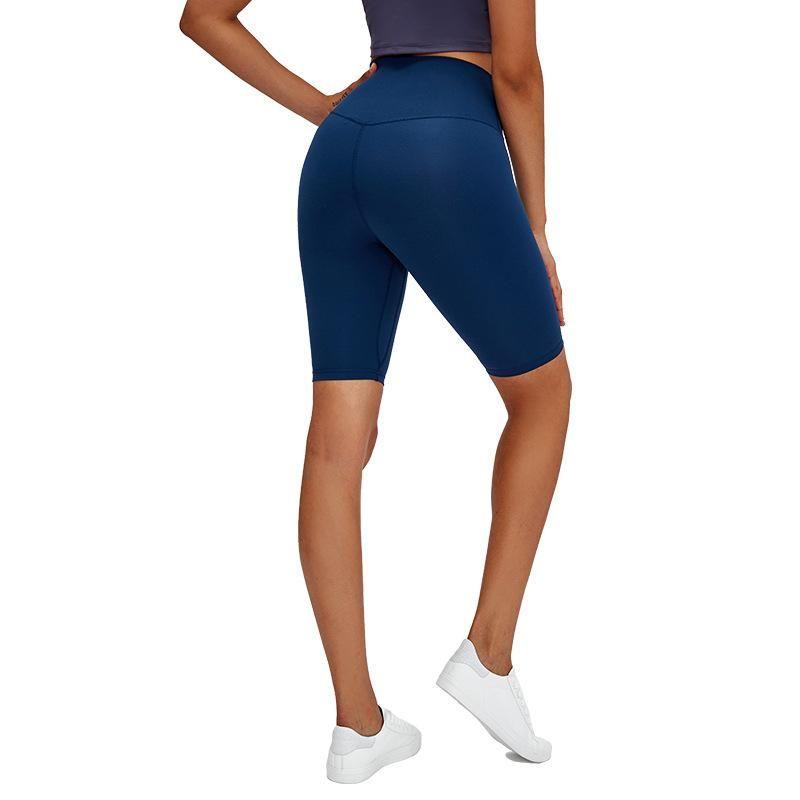 LU-69 nouveau 2020 Camel Toe Nylon Biker entraînement Gym Long Shorts femmes taille haute plaine Squat Proof Fitness Shorts d'entraînement