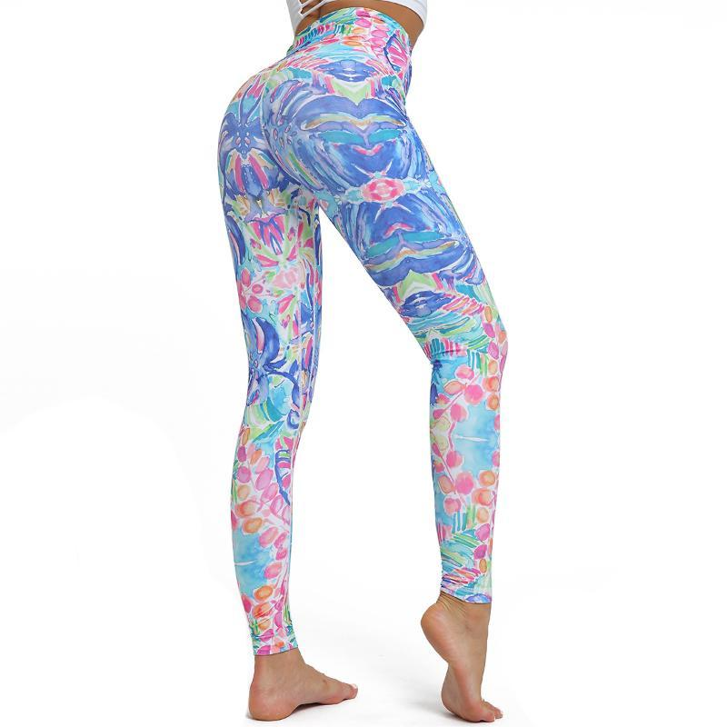 Drucken Yoga Pants Women einzigartige Fitness Leggings Trainingssport Laufen Leggings Sexy Push Up Gym Wear Elastische dünne Hosen