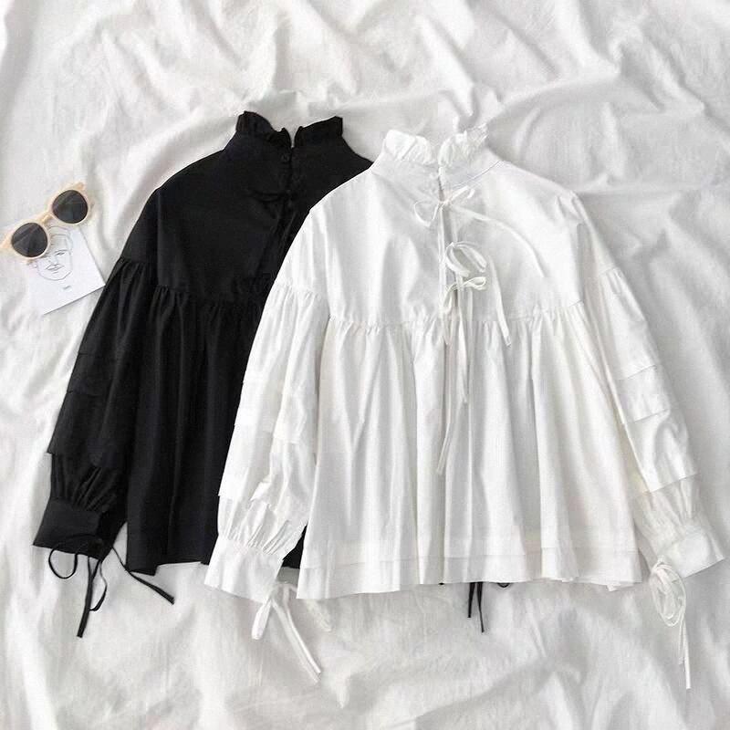 nuovo dolce stand collo Bambola camicia femminile autunno coreana Puff manica Camicetta Croce Lace Up Bianco Black Women Top Blusas t99D #