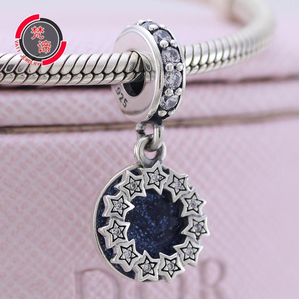 joyas de plata colgante Pan 925 Fandi Nuevo Sueño azul pulsera de la estrella de los granos grano granos pendiente de cuentas Jia oTK47