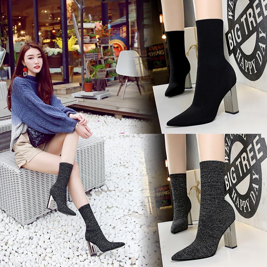Sexy Ankle Short Boots for Women High Heels Boots Ladies Autumn Short Boots Shoes Woman Gold Bottines Pour Les Femmes