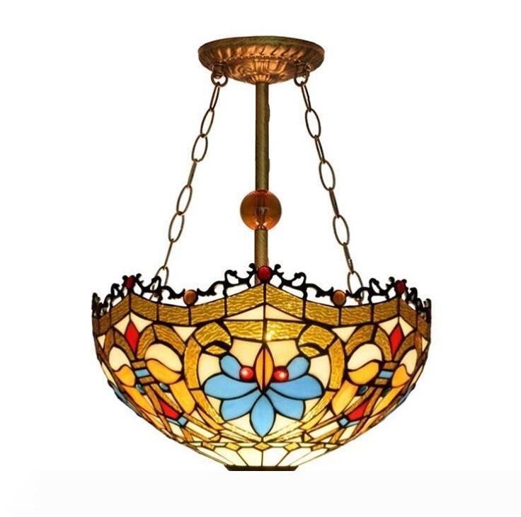 티파니 램프 펜던트 블루 꽃 방지 샹들리에 침실 스터디 룸 계단 발코니 천장 티파니 조명 램프 매달려