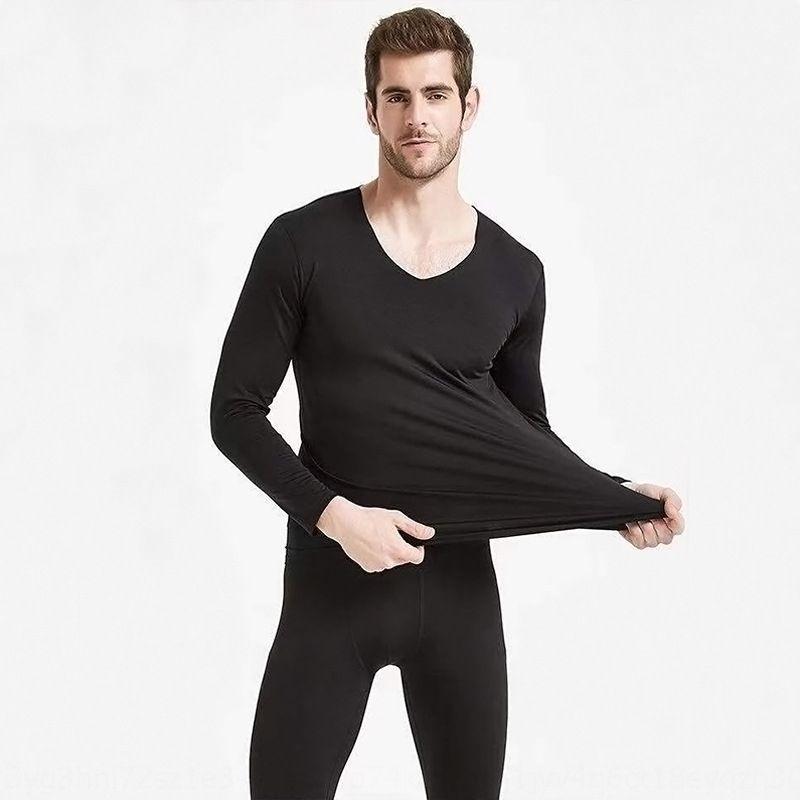 KGZjO TmUf8 ensemble de sous-vêtements thermiques élastique mince de couleur de hommes sous-vêtements chauds et des vêtements polaire solide l'automne de base auto-échauffement des femmes
