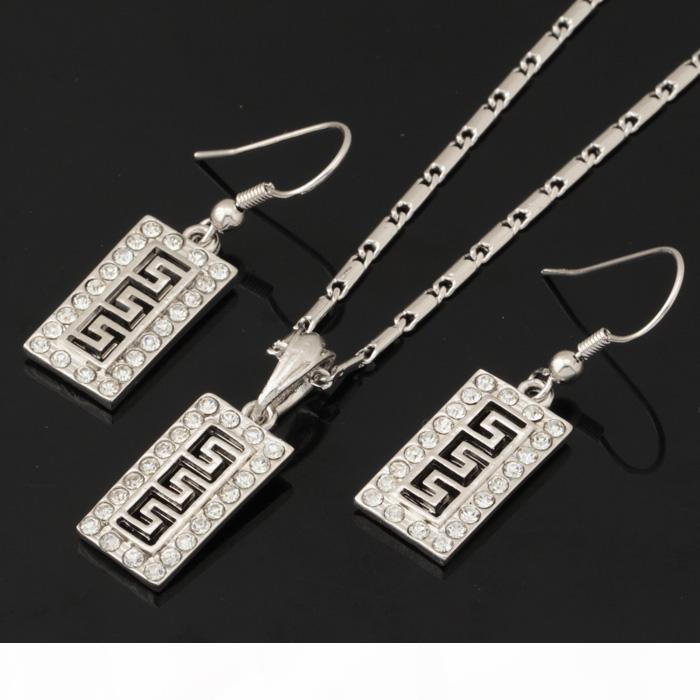Vintage Geometry Cube Pendant Earrings Choker Neckace 18K Gold Plated Austrian Rhinestone Fashion Jewelry Set For Women YS742